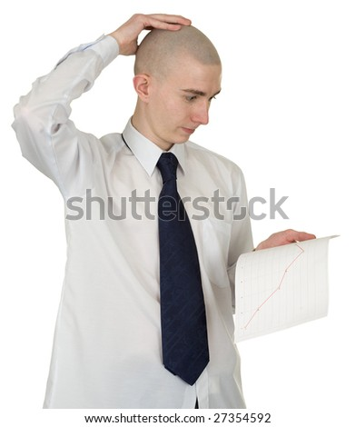 The perplexed guy with the financial graph in hands - stock photo