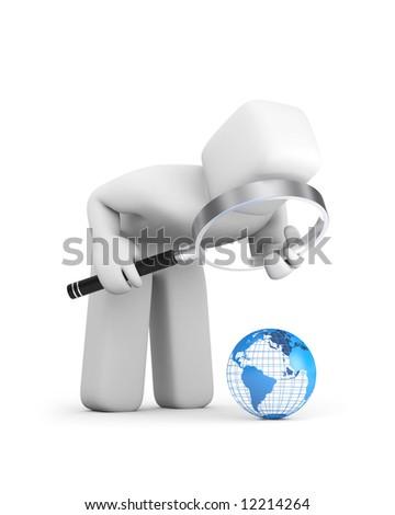 The person examines globe - stock photo