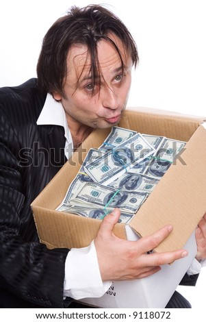The person has found a box of money, a portrait on a white background - stock photo