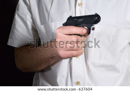 The person holding under a sight a target - stock photo