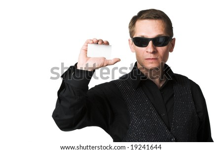 The person in black on a white background