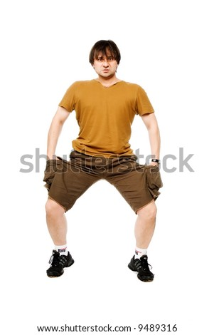 The person in brown clothes on a white background - stock photo