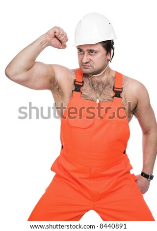 The person in red working clothes - stock photo