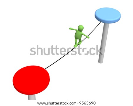 The person puppet, going on a rope. Objects over white - stock photo