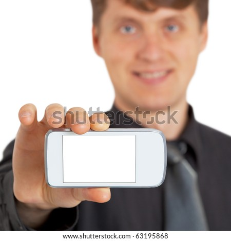 The person shows a new gadget on white - stock photo
