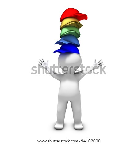 The person wearing many hats has a lot of different responsibilities - stock photo