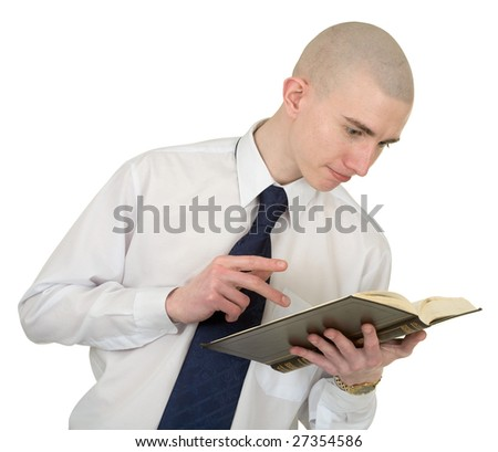 The person with the big book in hands - stock photo