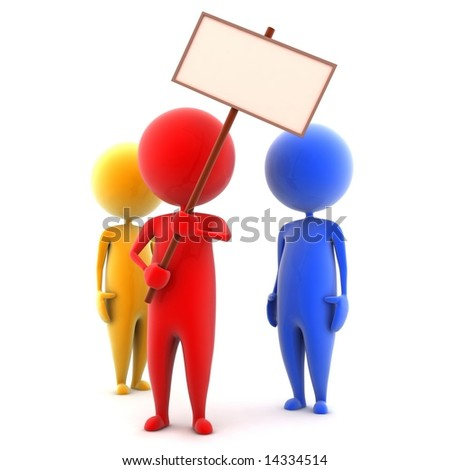 The person with the poster - stock photo