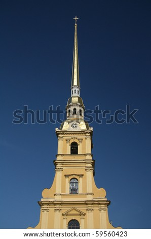 The Peter and Paul cathedral in fortress by Neva in St. Petersburg, Russia - stock photo