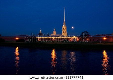 The Peter and Paul Fortress (Petropavlovskaya Krepost) and the Moon