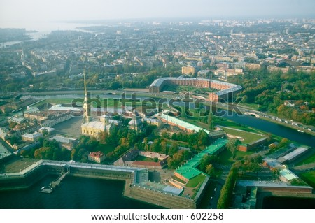 The Peter and Paul Fortress - wide angle aerial view to the Finnish Gulf [#4905] - stock photo