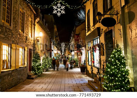 The Petit-Champlain at Lower Old Town (Basse-Ville) at night on christmas event