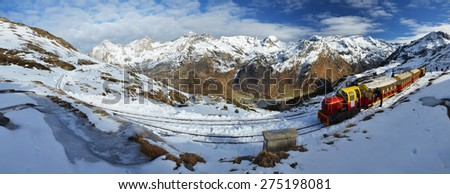 The Petit train d'Artouste is a narrow gauge tourist railway in the French Pyrenees.  - stock photo
