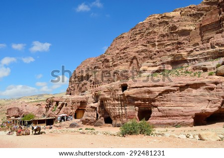 The Petra's temples, tombs, theaters and other buildings are scattered over 400 square miles - stock photo