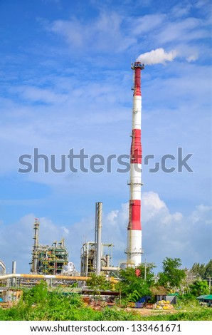 The petrochemical plant in Thailand with blue sky background