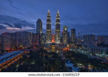 The Petronas Twin Towers at Dusk - stock photo