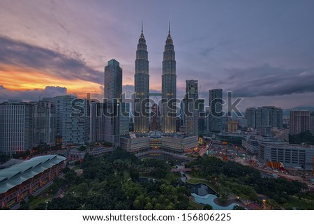 The Petronas Twin Towers at Sunset - stock photo