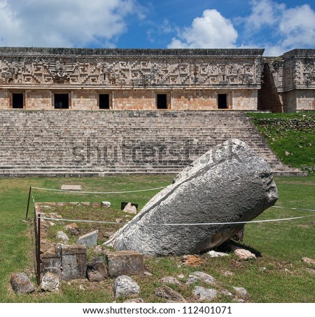 The phallus statue on a square of the Government Palace in the Uxmal - Yucatan, Mexico