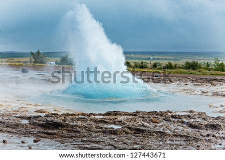 The phase of the eruption of the geyser - Iceland - stock photo