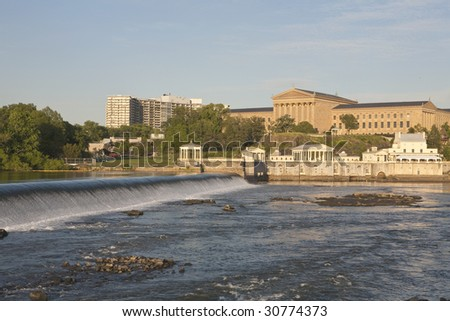The Philadelphia Art Museum and the Water Works. - stock photo