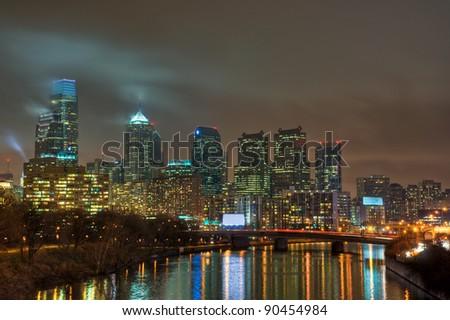 The Philadelphia, Pennsylvania skyline at night. - stock photo
