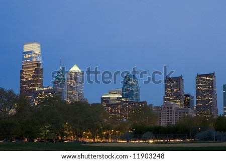 The Philadelphia skyline with new added buildings - stock photo