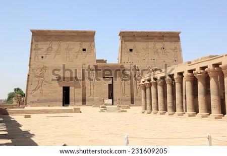 The Philae Temple, on Agilkia Island. Nubia, Egypt. - stock photo