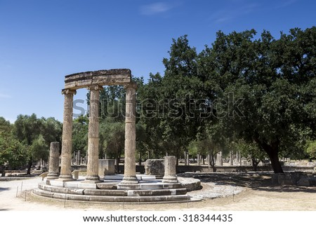 The Philippeion building remains at ancient Olimpia archaeological site in Greece - stock photo