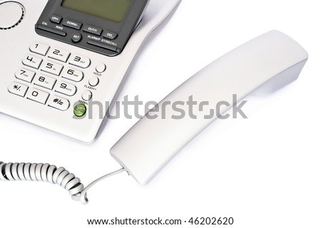 The phone device on a white background. - stock photo
