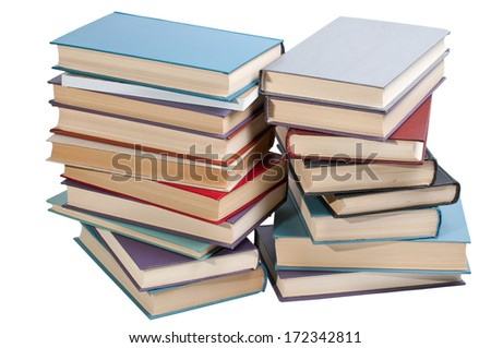 the photo of a pile of books on a white background removed with pulse light