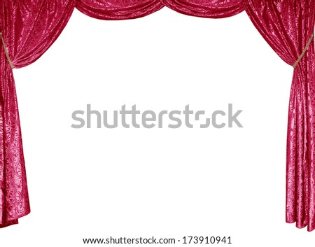 The photo of smart curtains from a red satin velvet, isolated  - stock photo
