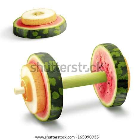 The photo of sport equipment made of healthy fruits full of vitamins. - stock photo