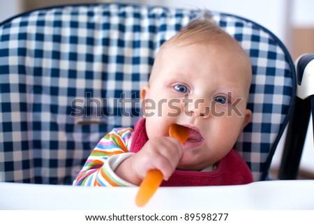 the photo shot of feeding baby food to baby - stock photo