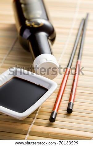 the photo shot of soy sauce and chopsticks - stock photo
