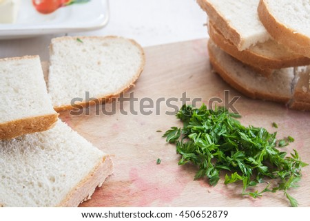 The photo shows the sandwich on table