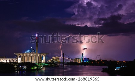 The Photo taken in 30 seconds exposure to capture precious moment of thunder storm and lightning during raining weather in Putrajaya, Malaysia - stock photo