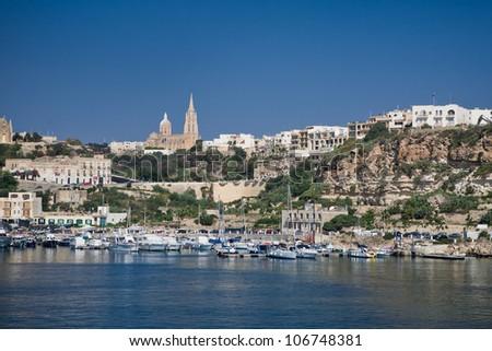 The photo was taken from a ferry Malta-Gozo - stock photo