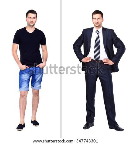 the photograph depicts a young man in casual clothes, close depicts a young man in a suit - stock photo