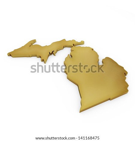 The photorealistic golden shape of Michigan isolated on white (series) . The rendering even has tiny scratches - stock photo