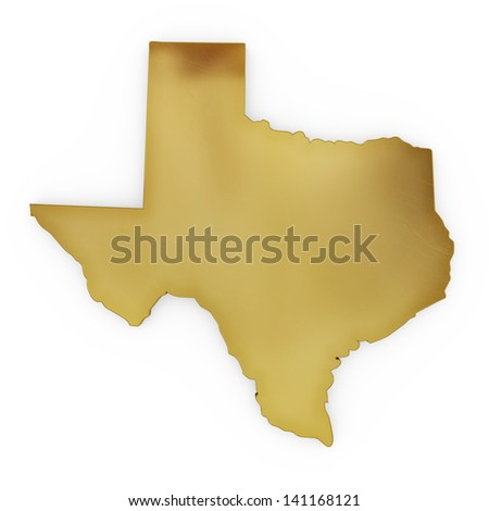 The photorealistic golden shape of Texas isolated on white (series) . The rendering even has tiny scratches - stock photo
