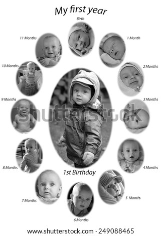 The photos of a baby growing from birth to one year. - stock photo