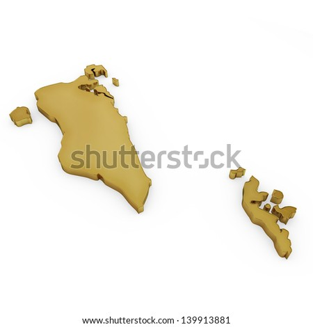 The photrealistic golden shape of Bahrain isolated on white (series) . The rendering even has tiny scratches - stock photo