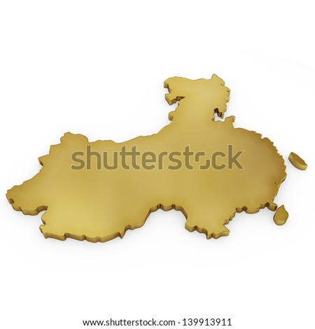 The photrealistic golden shape of China isolated on white (series) . The rendering even has tiny scratches - stock photo