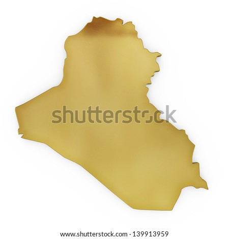 The photrealistic golden shape of Iraq isolated on white (series) . The rendering even has tiny scratches - stock photo