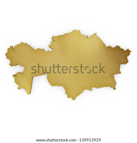 The photrealistic golden shape of Kazakhstan isolated on white (series) . The rendering even has tiny scratches - stock photo