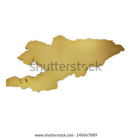 The photrealistic golden shape of Kyrgyzstan isolated on white (series) . The rendering even has tiny scratches - stock photo