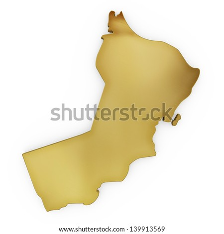 The photrealistic golden shape of Oman isolated on white (series) . The rendering even has tiny scratches - stock photo