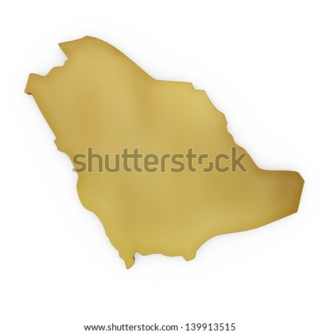 The photrealistic golden shape of Saudi Arabia isolated on white (series) . The rendering even has tiny scratches - stock photo