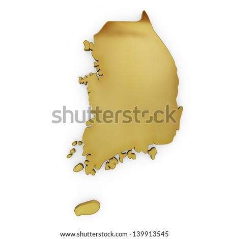 The photrealistic golden shape of South Korea isolated on white (series) . The rendering even has tiny scratches - stock photo