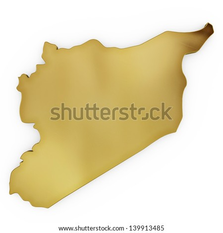 The photrealistic golden shape of Syria isolated on white (series) . The rendering even has tiny scratches - stock photo
